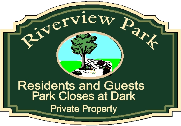 GA16503 - Design of Wood or HDU Sign for Park for Residents Only, Private Property