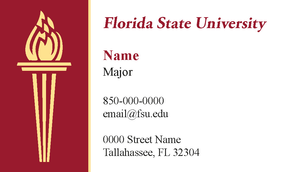FSU Student Business Cards - Color A