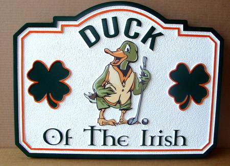 "RB27347 - ""Luck  (Duck) of the Irish"" Golf Sports Bar Sign"