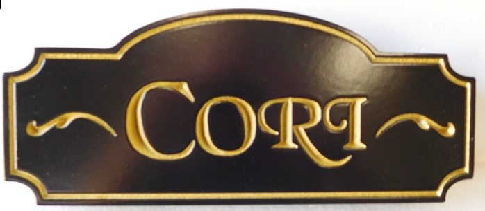 """I18831- Engraved High-Density-Urethane Property Name Sign """"Cori"""" with Gold-Leaf Gilded Letters"""