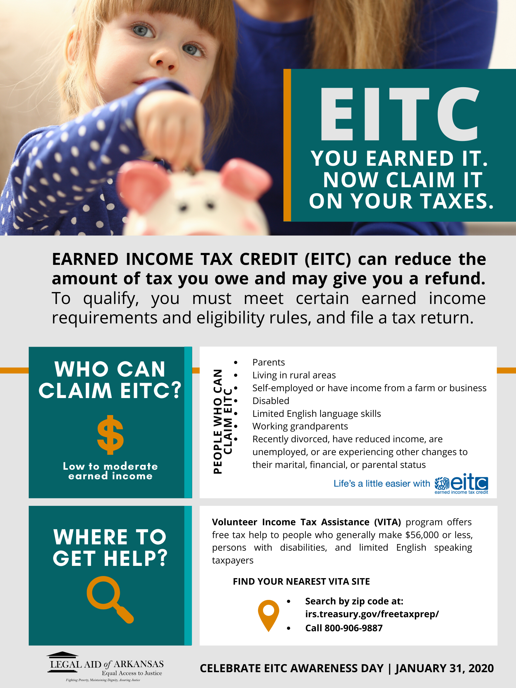 Are You Eligible for EITC? Legal Aid Answers Your Questions about Taxes