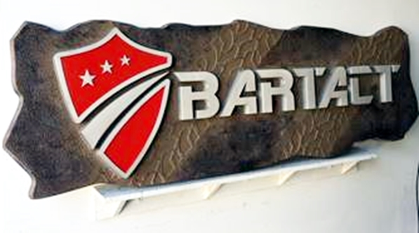 "S28018 - Carved 3-D Sign for the ""Bartact"" Business, in Shape of Rock"