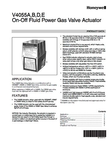 On-Off Fluid Power Gas Valve Actuator