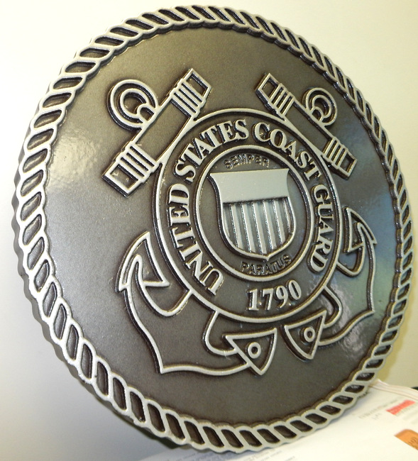NP-1220- Carved Plaque  of the Great Seal of the US Coast Guard, Bronze  Plated