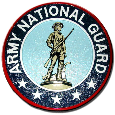 V31747 - Carved HDU Wall Plaque of  Army National Guard Seal