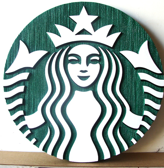 VP-1430 - Carved Wall Plaque of the Logo of Starbucks,  Artist Painted