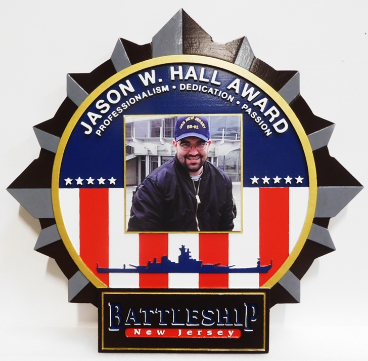 ZP-6005 - Carved Photo Wall Plaque for the Jason W. Hall Award, for the Battleship New Jersey, 3-D.