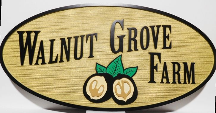 """O24755 - Carved Entrance Sign for the """"Walnut Grove Farm"""" , with  Walnuts as Artwork"""