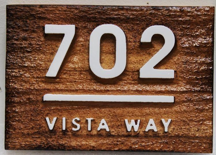 "M3929 - Carved and Sandblasted Rustic Cedar Rustic Address Sign ""702 Vista Way"" (Gallery 18)"