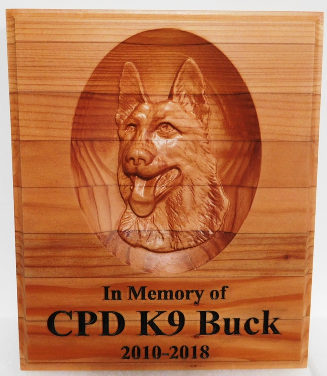 "WP5047 - Memorial plaque for a Police K-9 dog ""Buck"" , 3-D Redwood"