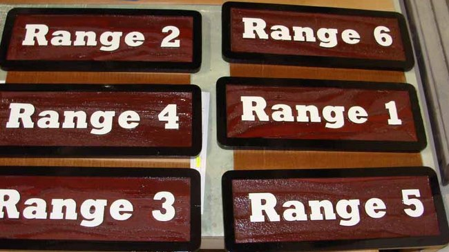 G16367 - Carved, Stained, Wood Signs for Shooting Range