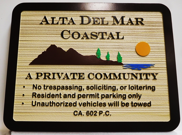 "K20342 - Carved HDU Entrance Sign  for the ""Alta Del Mar Coastal "" Private Residential Community, with Wood Grain Sandblasted Background"