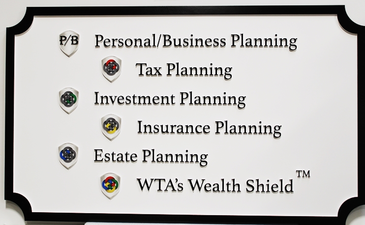 C12099 -  - Carved 2.5D Multi-Level  Sign for the The Wealth Training Academy