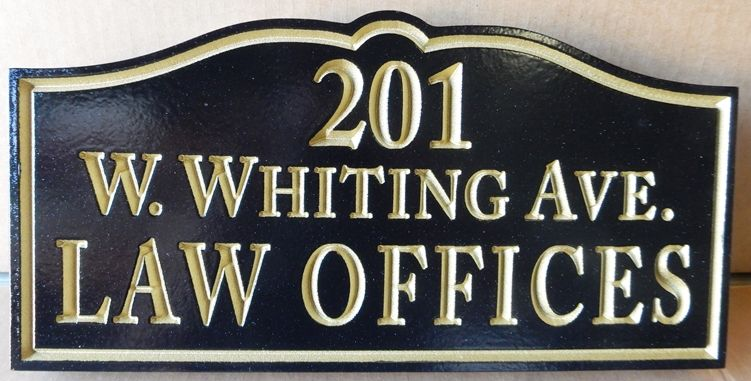 A10207 - Professional and Distinctive, Black and Silver, Carved HDU Sign for Law Offices with Address