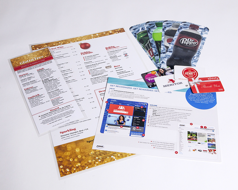 Laminated Menus and Cards