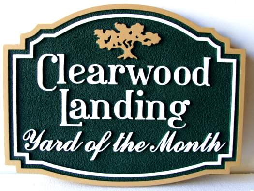 "KA20912 - Carved and Sandblasted HDU Yard-of-the-Month Sign for ""Clearwood Landing"""