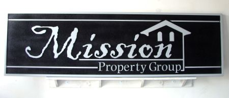 C12333 - Silver and Black Carved  HDU Real Estate Sign