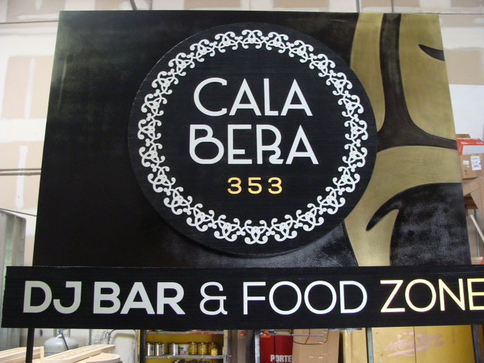"RB27119 -  Carved and Engraved HDU Upscale Restaurant and Bar Address  Sign, ""Cala Bera"""