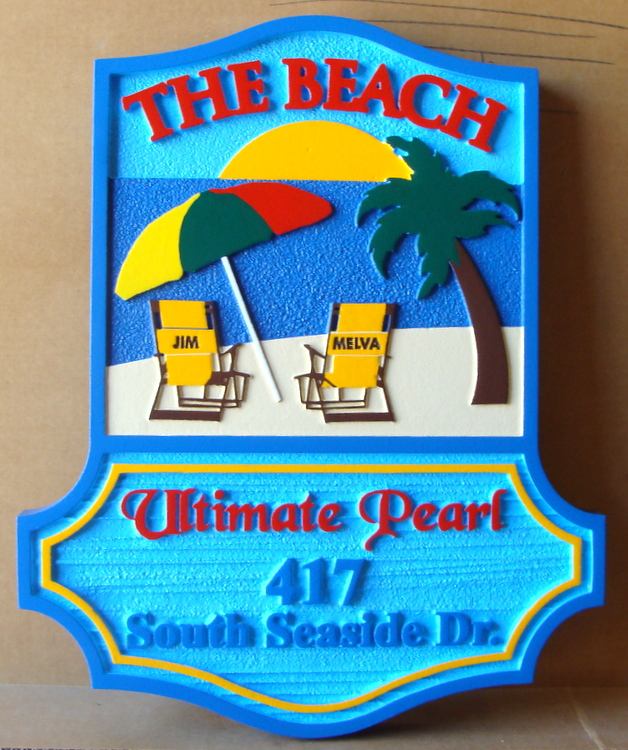 "L21026 – Carved 2.5D HDU Beach House Sign, ""Ultimate Pearl"", with Two Chairs facing Ocean"