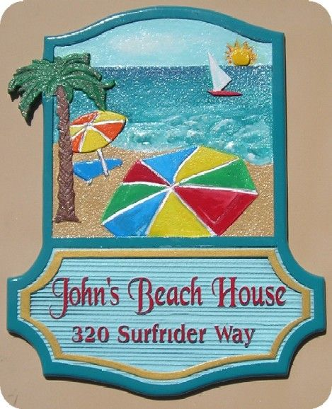 L21051 - Beach House Sign with Sun, Ocean, Beach, Sailboat,Umbrella and Palm Tree