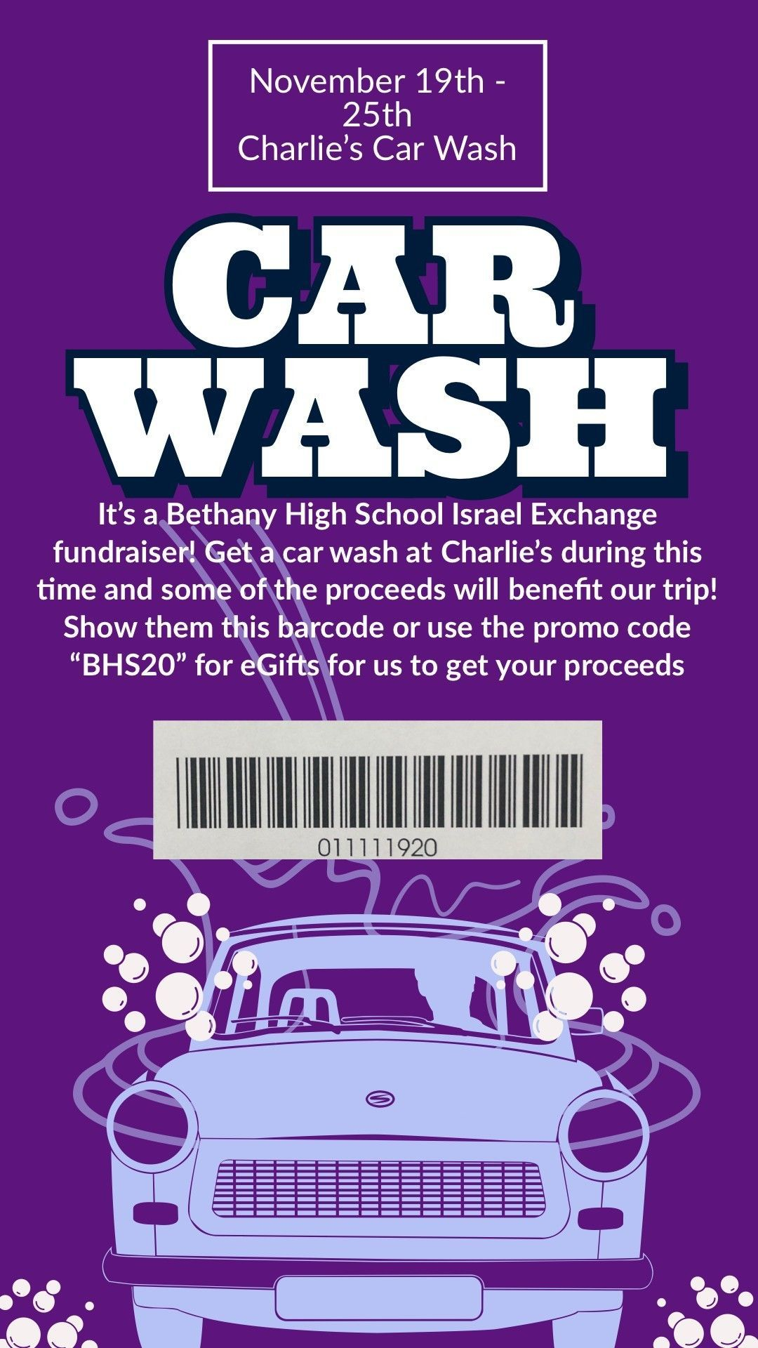 Bethany Israel Exchange Car Wash Fundraiser - 11/19 to 11/25