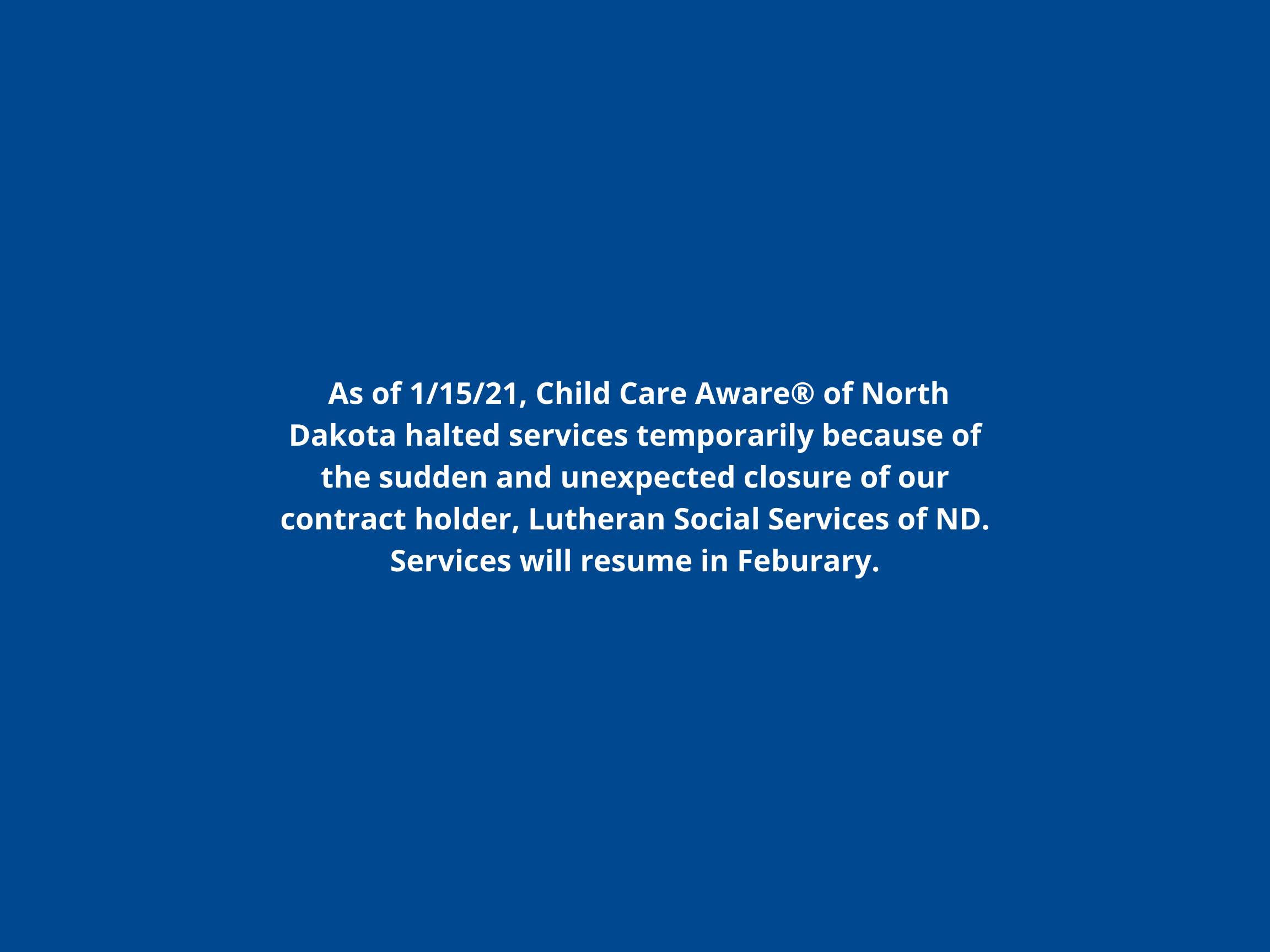 Services Will Resume in February