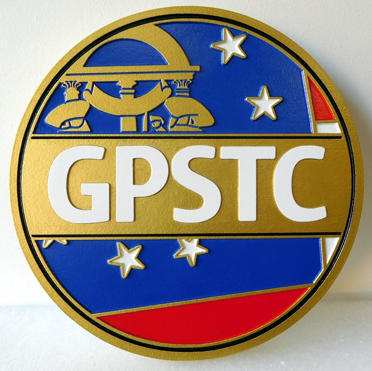PP-3140 -  Carved Wall Plaque of the Seal of the GPSTC, State of Georgia,  Artist Painted