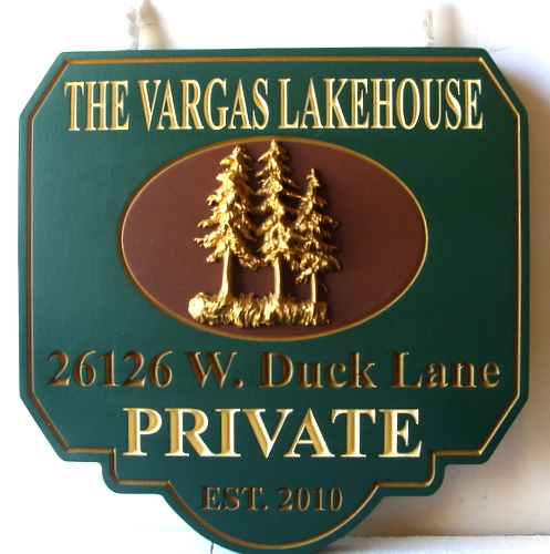 "M22051 - Engraved Wood ""Vargas"" Lakehouse Property Sign, with 3-D Carved Fir Trees and Gold Metallic Paint"