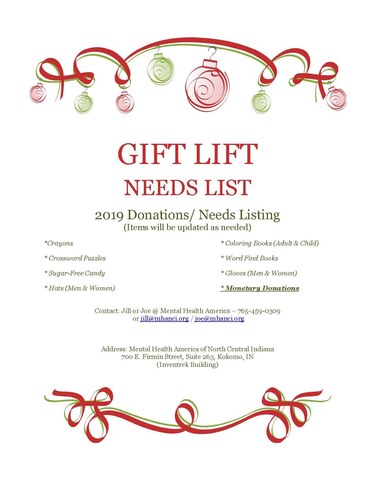 Gift Lift Need Listing 2019