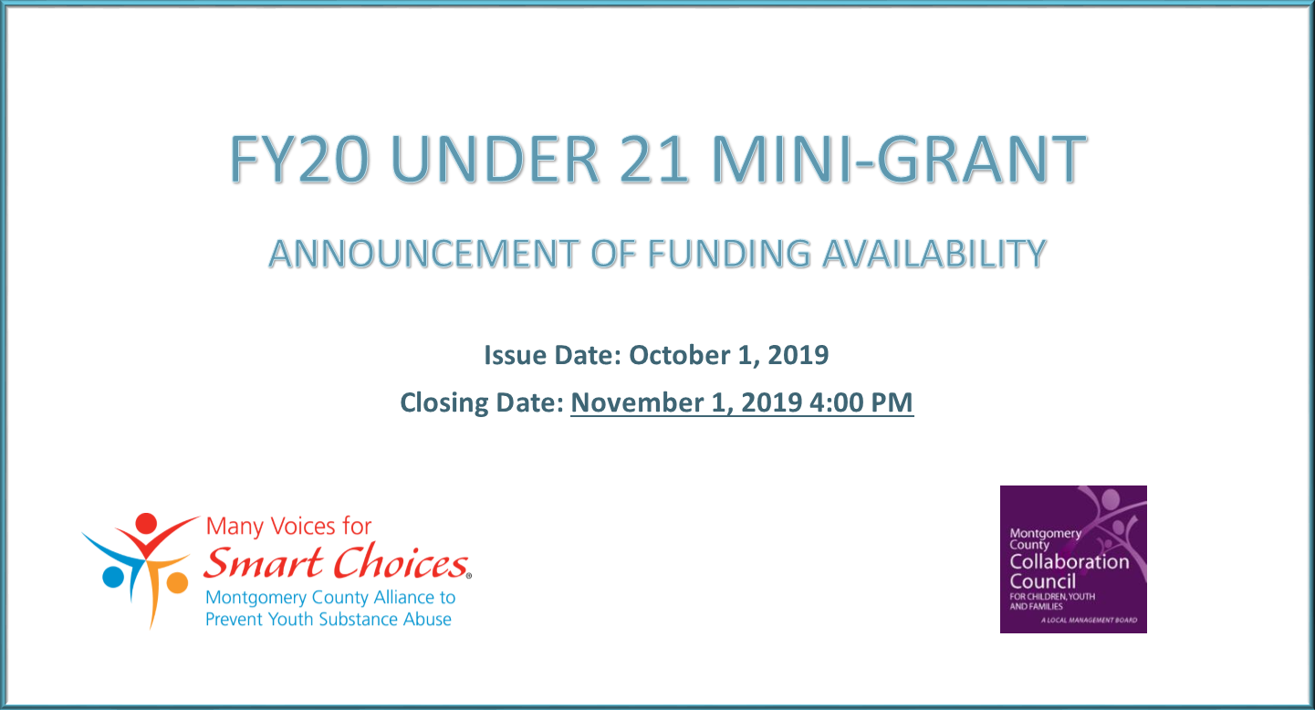 FY20 Under 21 Mini-Grant Funding Aviailability