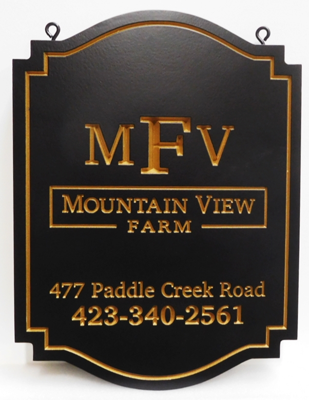 "O24060 - Formal Ornate Engraved  Sign for ""Stonewall's Journey Farm"", with 24K Gold Leaf Gilded Text"