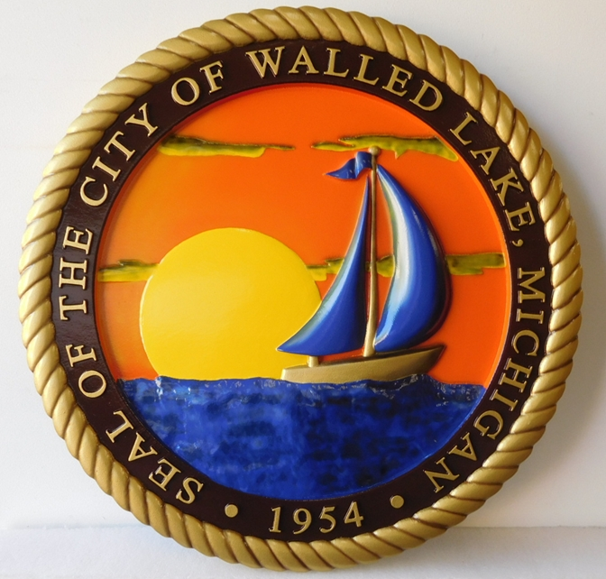 DP-2330 - Carved Plaque of the Seal of the City of Walled Lake, Michigan, Artist Painted