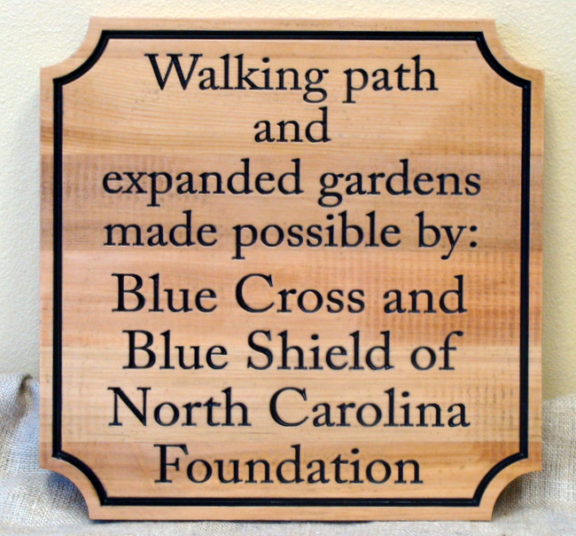 GA16586 -  Carved, Cedar Wood Sign for Expanded Gardens and Walking Path Sponsored by Foundation Grant