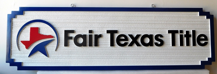 C12328- Carved and Sandblasted HDU Sign for  Fair Texas Title Company , 2,5-D with Raised Text, Art and Border and  Wood Grain Background