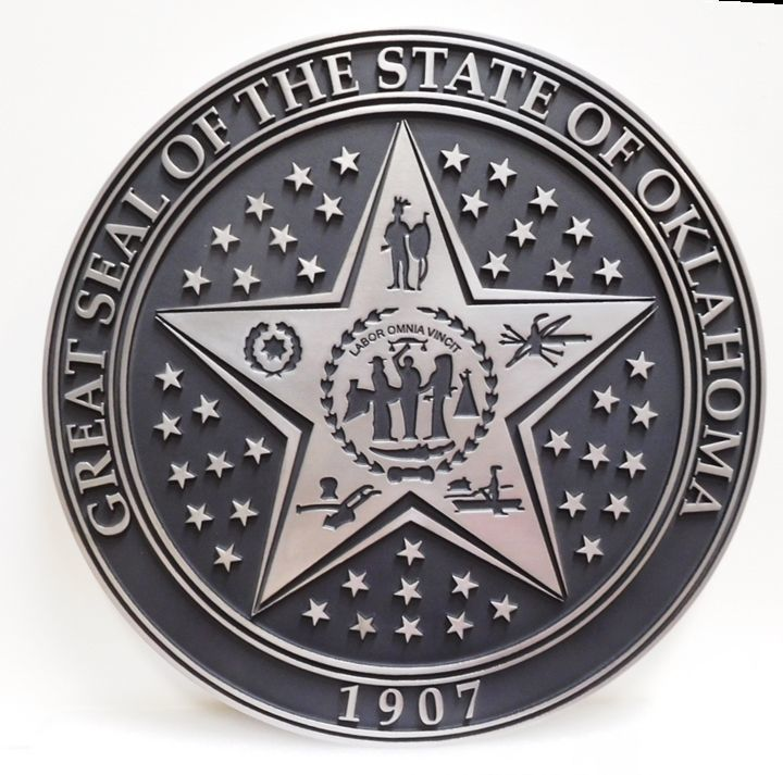 W32413 - Carved  2.5-DHDU  Plaque of the Great Seal of the State of Oklahoma