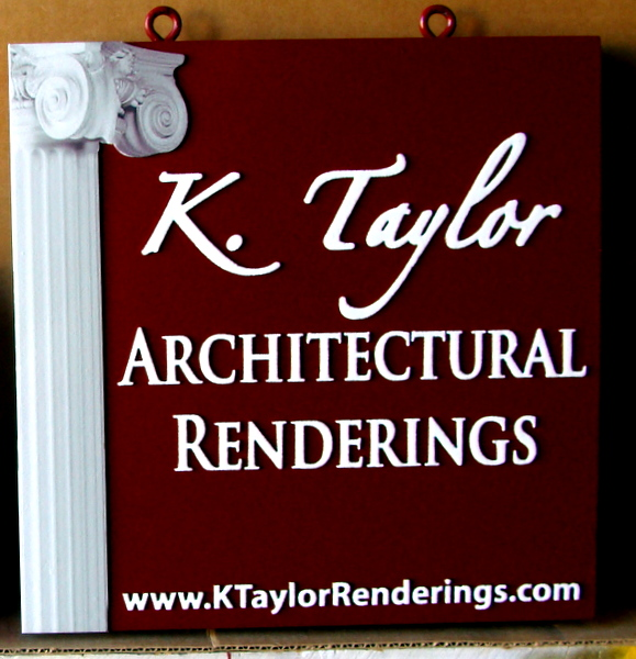 SA28756 - Carved HDU Sign for Architectural Design (Renderings) Business, 3-D Carved Corinthian Column