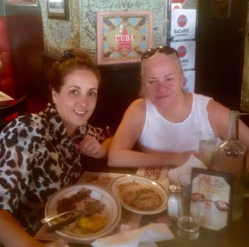 Photo of Cynthia and Moira dining at a Cuban cafe