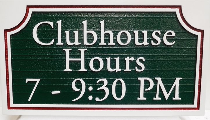 """KA20611 - Carved Clubhouse """"Hours"""" Sign, Raised Text and Border with Sandblasted Wood Grain Background"""
