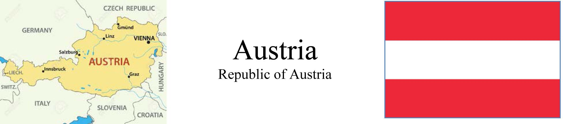 Map and Flag of Austria