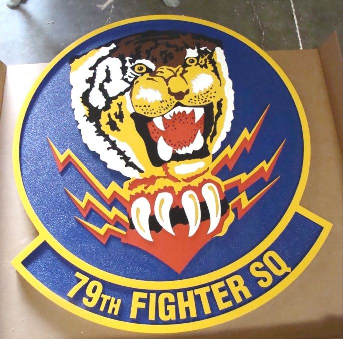 LP-2280 - Carved Round Plaque of the Crest of the 79th Fighter Squadron, Artist Painted