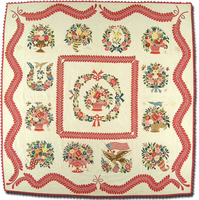 Baltimore Album Quilt, Maker unknown, Made in Baltimore, Maryland, United States, Dated 1850, IQSC 1997.007.0319