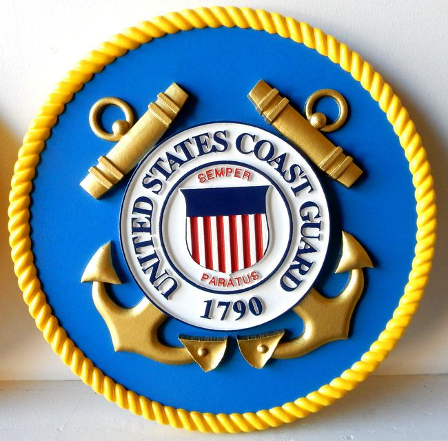 V31903 - Carved 3-D Wall Plaque of the Seal of the United States Coast Guard (USCG), Version 2 (no outer ring with text)