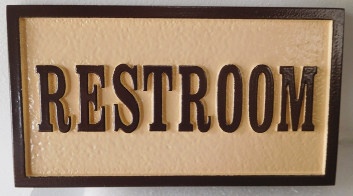 "RB27709 - Carved ""Restroom"" Wall Sign"