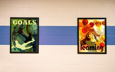 2 school signs showing academics and goals, motivational signs, educational posters