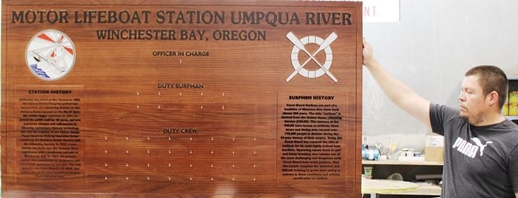 SA1338 - Chain-of-Command Board for the USCG Motor Lifeboat Station, Umpqua River, Winchester Bay, Oregon