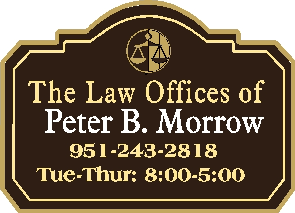 A10140 - Black and Gold Law Offices Sandblasted Sign