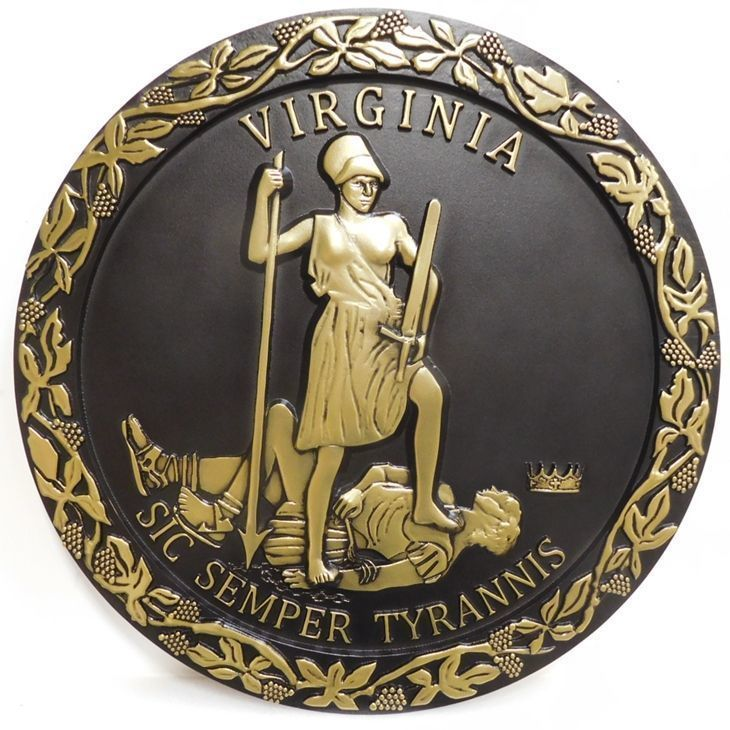 W32506 - Carved 3-D Brass-Plated Plaque of the Great Seal of the State ofVirginia