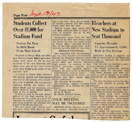 September 1947: Students Collect over $1,000 for Stadium Fund