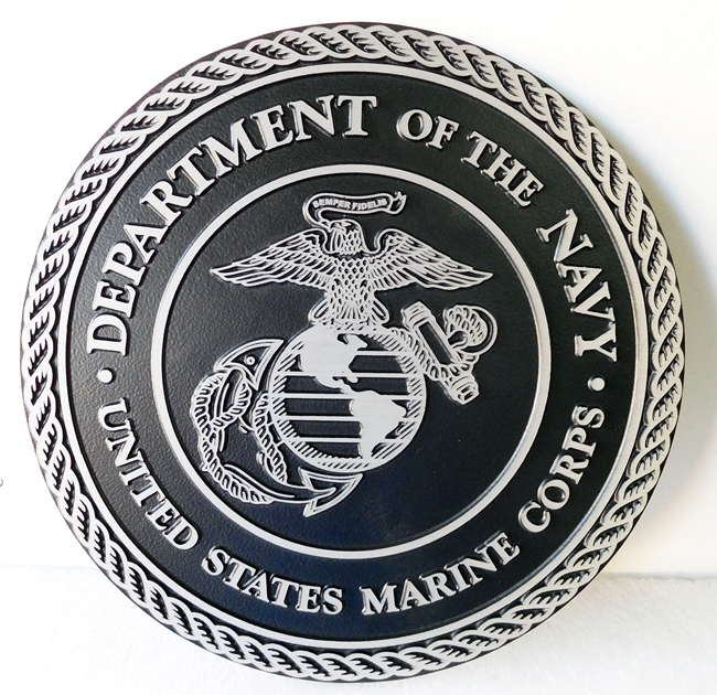 V31411 - 2.5-D Outline Relief Cast Aluminum Wall Plaques of the US Marine Corps Seal