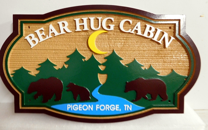 "M22891 - Carved and Sandblasted ""Bear Hug Cabin"", with Three Bears, a Forest, and River"
